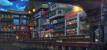 Light City - Midnight , Anime Background , Illustration