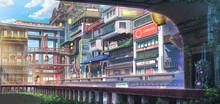 Light City - Day , Anime Background , Illustration
