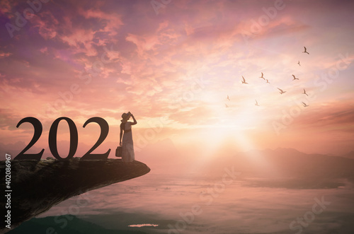 Fototapeta Success businesswoman of new year 2021 concept: Silhouette traveler woman with text for 2021 against on mountain sunset background obraz