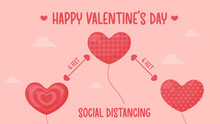 Heart Shaped Balloons Floating Away In The Pink Sky Valentine's Day Covid-19 Prevention Ideas