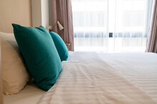 Comfortable Pillows On Bed In Bedroom