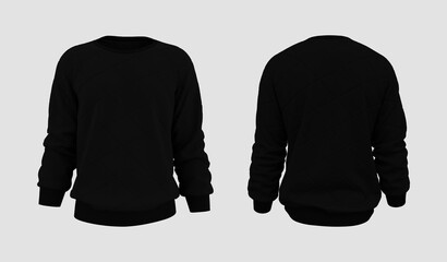 Blank puffer sweatshirt mock up in front, and back views, isolated on white, 3d rendering, 3d illustration