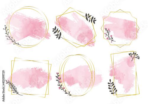 Photo ピンク筆金色フレーム01