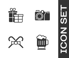 Set Wooden Beer Mug, Gift Box, Christmas Candy Cane And Photo Camera Icon. Vector.