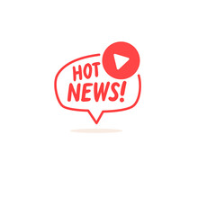 Hot News Sign. Icon For Social Networks. Vector Element For A Blog.