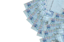 5 Ukrainian Hryvnias Bills Lies Isolated On White Background With Copy Space. Rich Life Conceptual Background