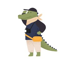 Cute Crocodile Tourist Observing, Enjoy Travel Or Vacation Vector Flat Illustration. Funny Wild Animal With Camera Admiring Sight During Adventure Trip Isolated. Happy Traveler Character