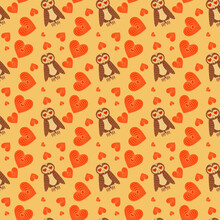 Lovely Romantic Seamless Pattern With Owls And Hearts On Yellow Background