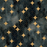 Intersecting circles, golden stars seamless pattern. Watercolor geometric circle background. - 402127523