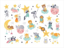 Isolated Set With Cute Sleeping Animals In Scandinavian Style. Collection With Stars, Moon And Cloud. Sweet Dreams. Ideal Kids Design, For Fabric, Wrapping, Textile, Wallpaper, Apparel