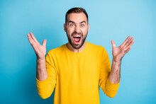 Photo Of Young Angry Furious Stressed Depressed Man Screaming Conflict Quarrel Isolated On Blue Color Background