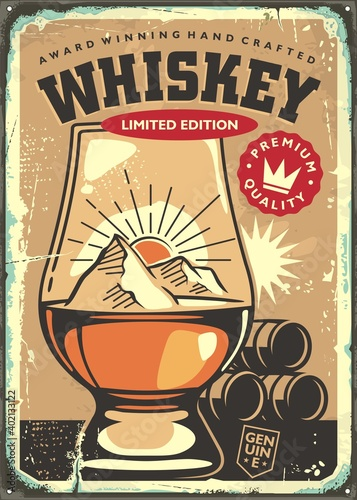 Obraz Award winning hand crafted whiskey retro sign advertisement on old rusty metal background. Pub and drinks theme with glen cairn whiskey glass. Vector vintage promo poster. - fototapety do salonu