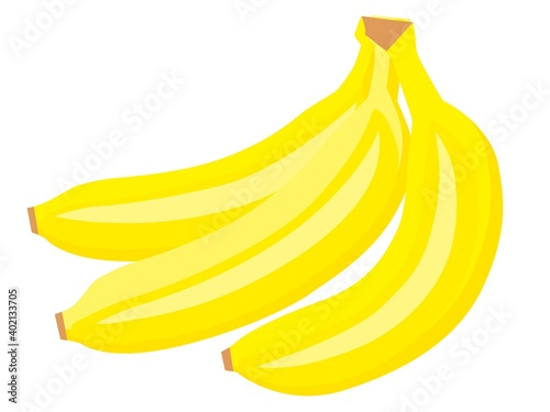 Photo 黄色いバナナ3本の房