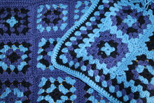 Crochet Granny Squares In Blue & Purple, Crocheted By Me
