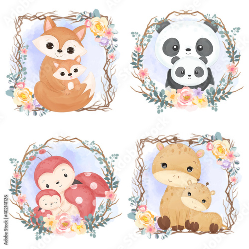Fototapeta premium adorable animals illustration for personal project,background, invitation, wallpaper and many more