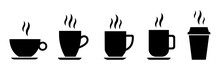 Coffee Cup Icon Set. Cups For Coffee And Tea. Cup With Steam Isolated On White Background. Hot Drink Silhouette. Vector Illustration Eps10.
