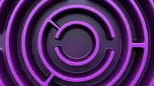 Circular Maze Structure. Purple Theme. Top View.