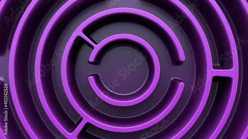 Tablou Canvas Circular maze structure. Purple theme. Top view.