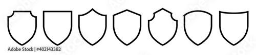Fotografia Black line shield icon set in vintage style