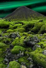 Northern Lights Over Icelandic Landscape