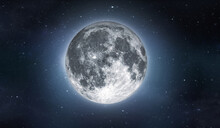 Full Moon On Sky With Stars. Image In High Resolution. Bright Lunar Satelite.