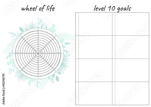 Photo Printable A4 paper sheet with tropical leaves and Wheel of Life - diagram with blank lines to fill