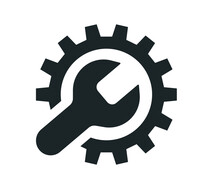 Service Tool Icon On White Background. Gear Icon, Technical Assistance And Service Concept.