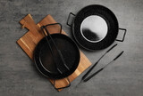 Fototapeta Kawa jest smaczna - Set of cooking utensils on grey table, flat lay