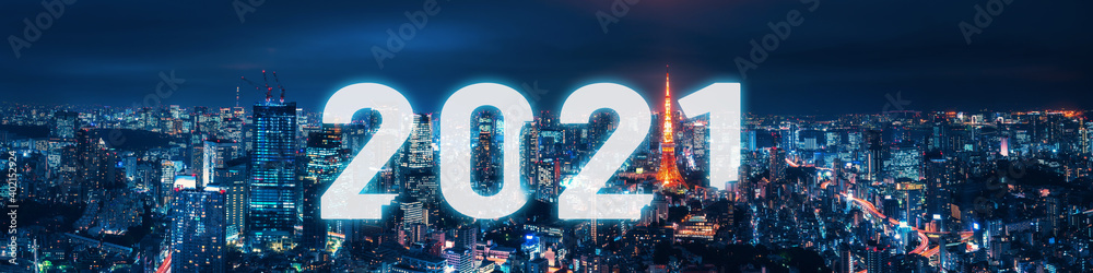 Fototapeta Happy New year 2021 in Tokyo city at night in Japan