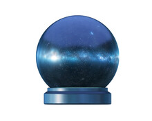 Magic Ball With Space Inside, Fortune-telling Ball Isolated On White, 3d Render