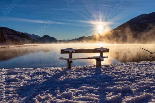 Tela beautiful wooden jetty at a mountain lake, Salzkammergut, Austria