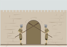 2 Roman Soldiers Block The Exit From The Gate Within The Walls Of Jerusalem, The Old City. The Figures Are Dressed In Military Clothing From The Roman Empire. Flat Colored Vector Drawing.