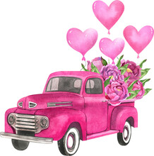 Watercolor Retro Truck With Flowers And Balloons. Valentine's Day Truck.