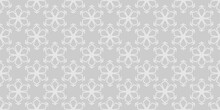Simple White Ornament On A Gray Background In Asian Style. Seamless Wallpaper Texture. Vector Illustration For Design.