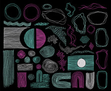 Scribble Frames, Lines And Dots Texture Backgrounds Vector Collection.