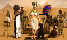 Royal Egyptian Pharaoh Cleopatra With Servants In Traditional Costumes