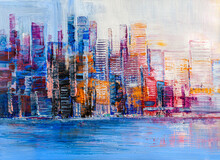 Panorama Of Night Town Near The Sea. Oil Painting Cityscape.