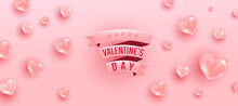 Love Is Banner. Background Valentine Design Of Realistic 3d Render Bauble Love Shape And Pink Gift Ribbon Text. Horizontal Minimal Poster, Greeting Card, Headers For Website