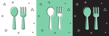 Set Fork And Spoon Icon Isolated On White And Green, Black Background. Cooking Utensil. Cutlery Sign. Vector.