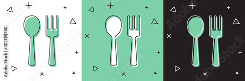 Canvas Print Set Fork and spoon icon isolated on white and green, black background