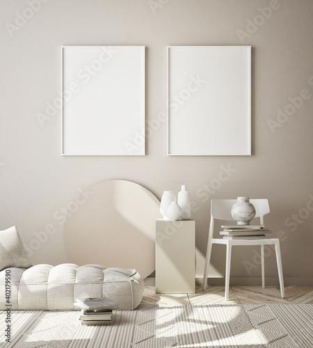 mock up poster frame in modern interior background, living room, Scandinavian style, 3D render, 3D illustration © mtlapcevic