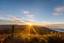 Sunrise In The Hill In Costa Rica Woman Hiking