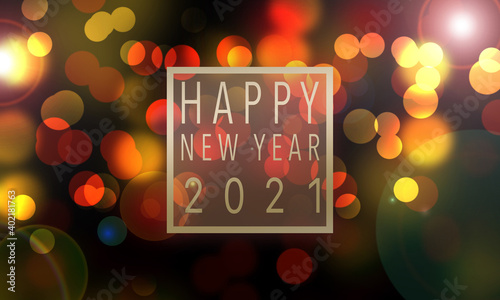 holiday festive glittering defocused colorful background with bokeh lights - Happy new year 2021 card