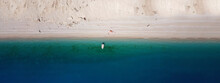 Aerial Drone Ultra Wide Panoramic Photo Of Famous Azure Sandy Beach Of Egremni, Lefkada Island, Ionian, Greece