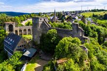 Aerial View Hohenstein Castle, Felsenburg, Bad Schwalbach, Rheingau-Taunus-Kreis Hesse, Germany