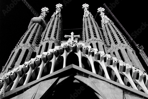 Barcelona La Sagrada Familia cathedral in black and white - Barcelona best places to visit
