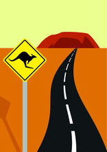 Illustration Australia. Traffic Sign With Kangaroo, Road And National Park With Mountain