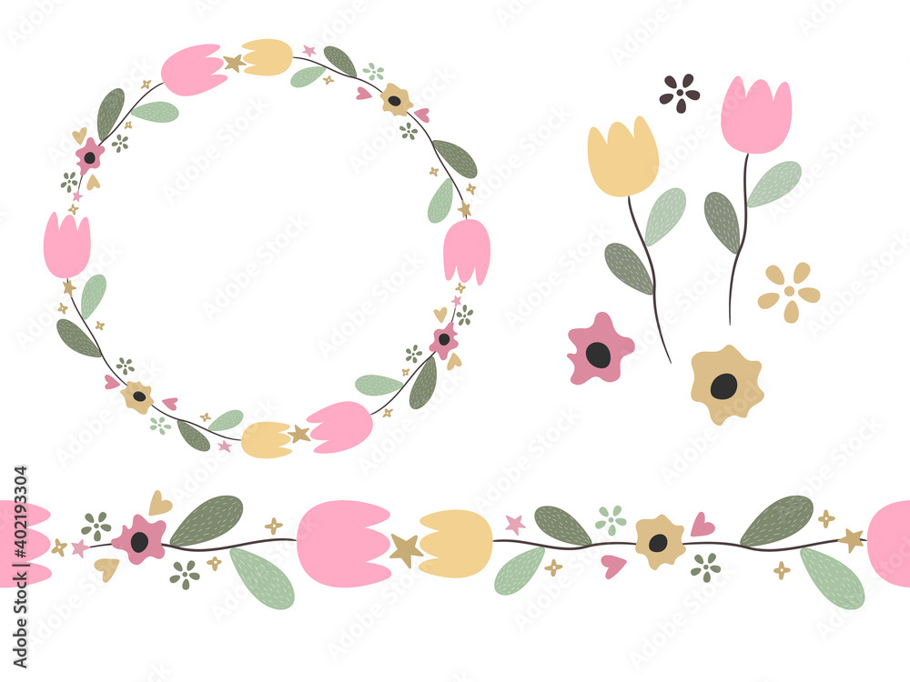 Fototapeta Vector set of floral elements, flower brush, wreath, tulips in hand drawn style. Doodle illustration.