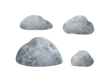 Gray Stones. Collection Of Watercolor Clip Art In Cartoon Style. Decorative Pebbles Isolated On White Background For Natural Decor