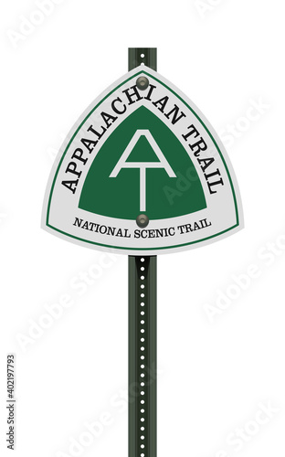 Fotografija Vector illustration of the Appalachian Trail road sign on metallic post